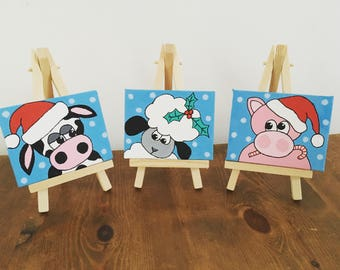 Xmas Mini Canvases with easels