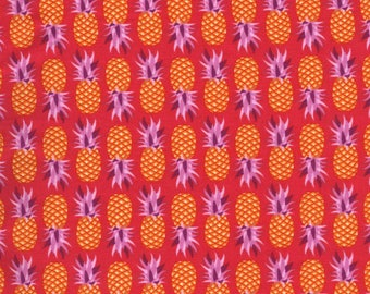 Michael Miller Cuban Beat Party Like A Pineapple Salsa Tropical Orange Purple Red Pineapples Cotton Fabric