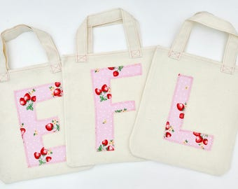 Handmade Personalised Bespoke Natural Cotton Party/Goody/Gift Bag with Machine stitched initial