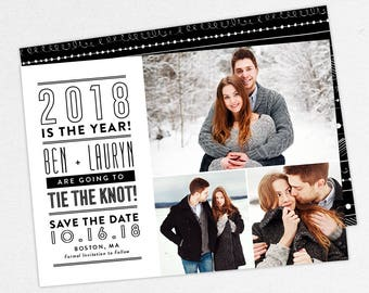 24 HOUR TURNAROUND, New Years Save the Dates, Holiday Save the Dates, 2018 Save the Dates, New Years Save the Date Cards, Printable, DIY