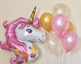 Unicorn Jumbo Balloon~Pink and Gold Unicorn Party~Pink and Gold First Birthday~Confetti Look Balloons~Unicorn Balloons~Unicorn Party Decor