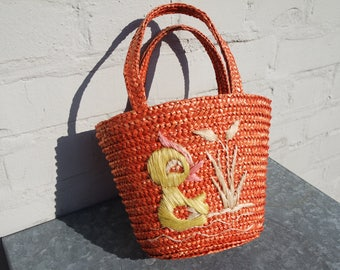 "Vintage 50' small ""Yellow chick"" straw bag/basket"