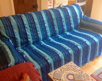 Handmade blue/turquoise moroccan throw/bedspread