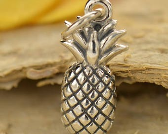 Sterling Silver, Textured Pineapple, Pineapple Charm, Pineapple Jewelry, Silver Pineapple, Fruit Charm, Fruit Jewelry, Tropical Charm