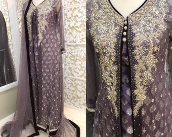 Lavendar Beaded Gown, Designer HSY Formal Collection Inspired, Indian, Pakistani, Bollywood Formal Gowns