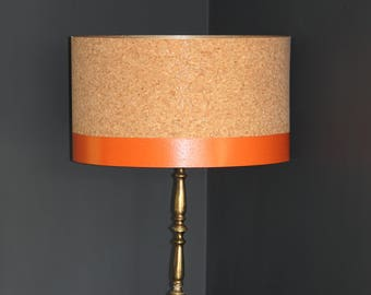 Blush pink lampshade etsy handmade cork drum lampshade with hand painted detail in choice of colours aloadofball Choice Image