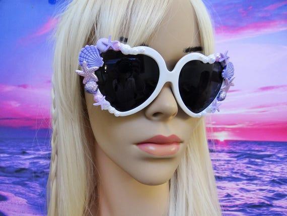 I'm Really A MERMAID Sunglasses Sun Glasses Sunnies Heart Shaped Ariel Love Beach Sea Ocean Nautical Pinup The Little Retro Vintage A024