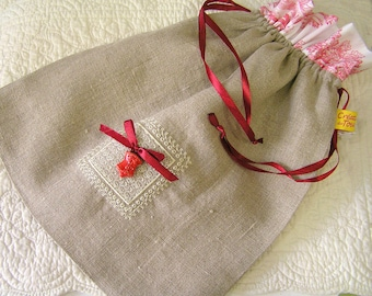 Bag for lingerie, embroidery, Valentine's day gift