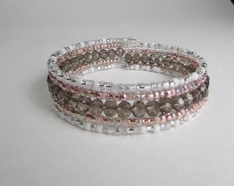 Memory wire bracelet in pale shades of grey, rose gold and white, memory wire beaded wrap bracelet, gift for friend, Gift box included