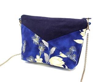 Trousse en coton bleu marine et tissu japonais bleu à fleurs blanches