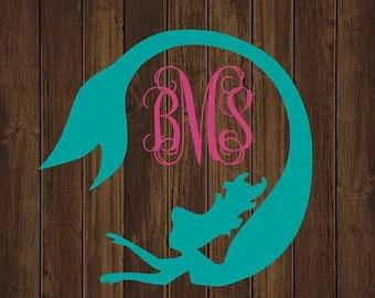 ON SALE Mermaid Monogram Decal - Monogram Mermaid Decal - Monogram Car Decal - Monogram Decal - Car Decal - Monogram Mermaid Decal - Mermaid
