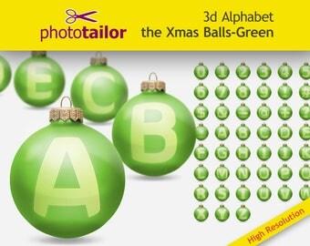 3d Christmas Alphabet Clipart, Xmas Balls GREEN, High resolution 45 glyphs, background removed, ideal for Xmas Scrapbooking DIY Custom words