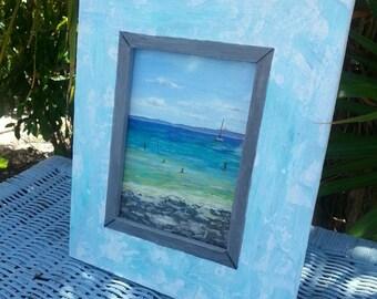 Beach Painting - Ocean  - Original Art - Upcycled Art - Beach Decor - Acrylic Painting -  Small Painting - Australian Art - Noosa