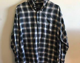 Nautica shirt L/90s/plaid/green/navy
