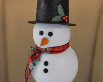 Wooden Snowman Ornament - Frosty the Snowman Ornament - Snowman