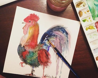 8x8 Abstract Watercolor Rooster Print