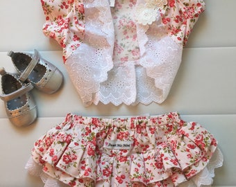 Baby girl clothing, Ruffle Nappy Cover Set, Ruffles, Bolero, Size 1, Floral, baby gift, pink, flowers