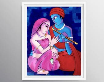 Indian decor, Art decor, Radha Krishna Print, Indian art Print, Hindu wall art, Hindu God, House warming gift, Spiritual art decor, Nikki