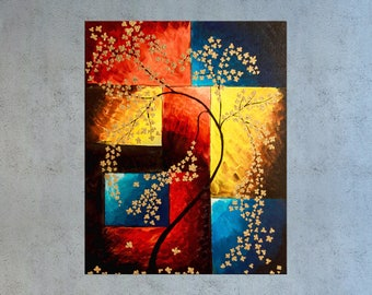 Cherry Blossom Painting, Tree painting, Floral painting, Floral wall art, House warming gift, Gold painting, modern art, Living room decor,