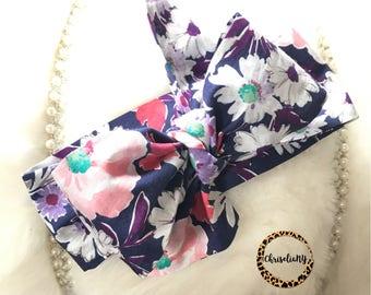 Watercolor Pink Purple Floral headwrap, Floral Headwrap, Newborn Headwrap, Fabric Headwraps, Headwrap, Toddler Headwrap,  baby headwrap
