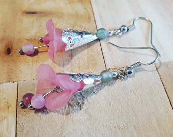 Silver with pink flower earrings with agate beads