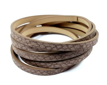 1.15 m strap faux leather snakeskin chocolate 5mm x 2mm