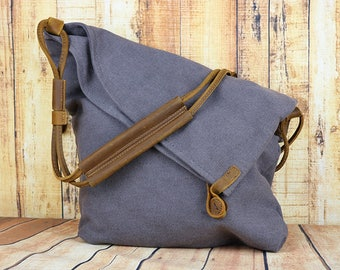 Waxed Canvas Bag for Woman With Leather Handle,Shoulder Bag , Waxed canvas bag, waxed bag,  Women crossbody bag, blue grey color