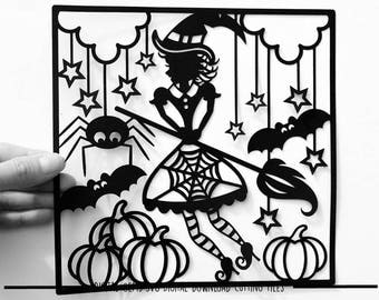 Halloween witch paper cut svg / dxf / eps / files and pdf / png printable templates for hand cutting. Digital download.