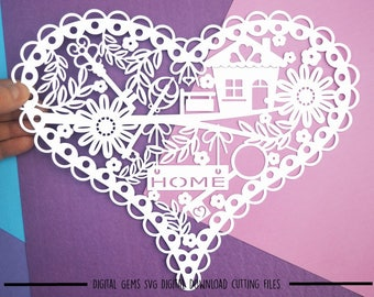 Home heart paper cut svg / dxf / eps / files and pdf / png printable templates for hand cutting. Digital download. Commercial use ok