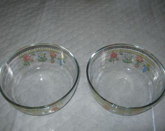 2 (Two) KIG Indonesia Clear Floral 6 inch Bowls