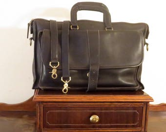 Spring Sale Coach Harrison Multi-Compartment Briefcase In Black Leather U.S.A. Made - Missing Magnetic Buckle Snap