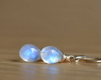 Rainbow Moonstone Earrings, June Birthstone Jewelry, Wire wrapped gemstone Leverback Earrings, 14K Rose Gold Filled Sterling Silver