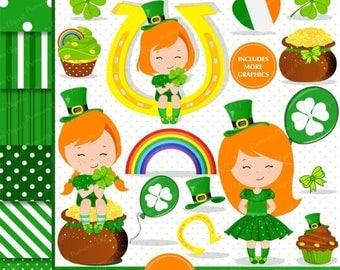80% OFF SALE St Patricks day clipart, St Patrick kid clipart, St Patrick graphics, Clove clipart, Girl clipart, Irish clipart - CL136