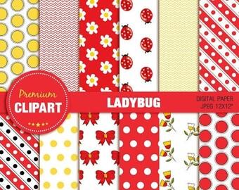80% OFF SALE Ladybug digital paper, ladybug scrapbook paper, ladybug paper, ladybug, commercial use, digital paper - PAP129