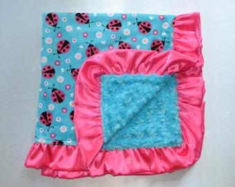 Lilttle lady bug blanket, Baby blanket, Girl blanket, Minky blanket.