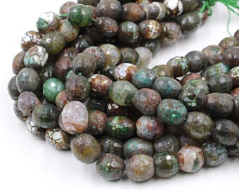 16mm Faceted Dark Green Agate Barrel Beads - 15'' Strand