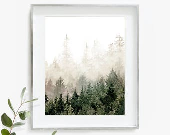 Forest Print, Nature Print, Large Wall Art, Bedroom Decor, Scandinavian Print, Nature Art, Landscape Painting, Watercolor Print, Forest Art
