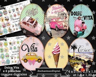 digital images x 80 retro * Dolce Vita * Italy travel car sea scooter was vintage collage digital scrapbooking cabochon jewel