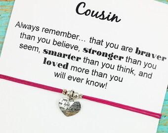 Cousin Heart Bracelet | Cousin Gift  | Cousin Bracelet | Love You Heart Charm Bracelet | Cousin Birthday | Gift Under 15