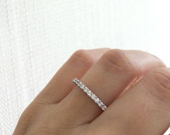 Sterling Silver Wedding Band Ring. Eternity Band Ring. Silver Stacking Ring. Stackable Ring. Silver Eternity Band Packed In A Luxury Box.
