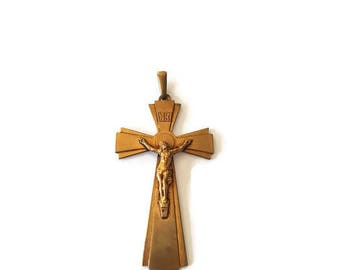 Vintage French gold tone cross pendant, necklace crucifix, christian jewelry, religious pendant