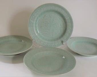 Chinese Celadon Koi Fish Plates - Set of 4, Longquan Celadon Porcelain Sushi Plates, Embossed Goldfish Celadon Plates, Vintage Salad Plates