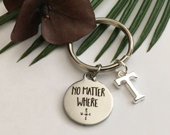 """Best Friend """" """" No Matter Where"""" charm with compass engraving and choice of a silver   personal initial """" Buy for all your best friends """""""