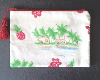 Cosmetic Bag, Jewelry Bag, Makeup Bag, Red Purse, Bridesmaid Gift, Summer Purse, Tropical Purse, Red Clutch, Gift for Her