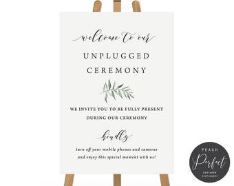 Charcoal Grey Organic Leaf Printable Wedding Sign, Unplugged Ceremony, 4 sizes, Instant Download, Natural Suite, Peach Perfect