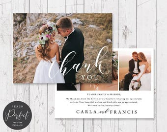 Wedding Thank Your Card with 3 or 4 photos, Free Colour Changes, Modern Wedding Thank You, Professionally Printed - Peach Perfect Australia