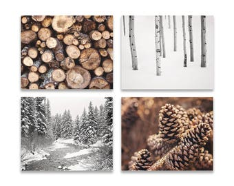 Rustic Home Decor, SET of FOUR Prints or Canvases, Forest Prints, Ski Lodge Decor, Forest Wall Art, Landscape Photography, Rustic Cabin Art