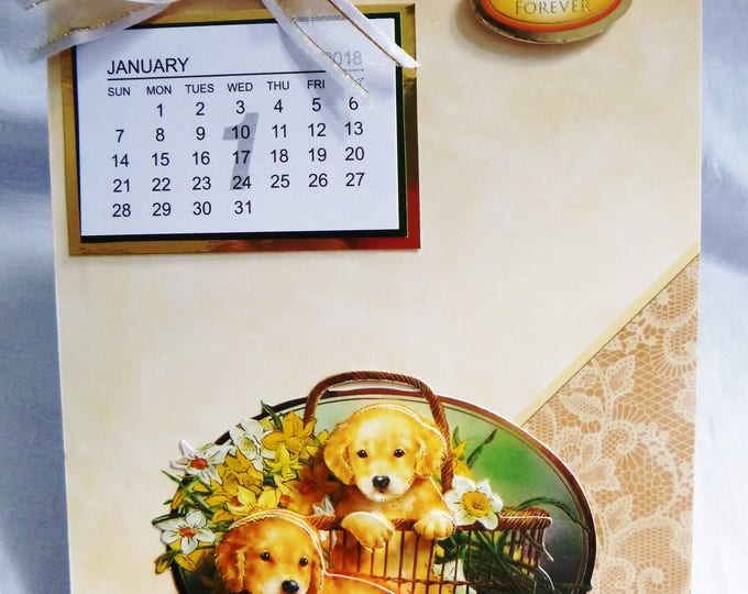 2018 Calendar, Golden Labrador  Puppies, 3 D Decoupage, Any Age, Male or Female, Mum, Dad, Sister, Brother, Son, Daughter,
