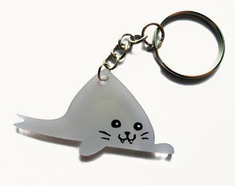 Seal Keychain - Animal Keychain - Acrylic Keychain - Kawaii Keychain - Cute Keychain - Gray - Cute Charm - Birthday Gift - Cute Accessory