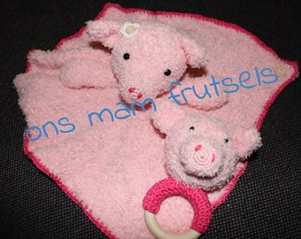 Cuddly Pig and rattle